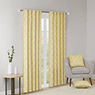 Madison Park Delray Diamond Blackout Window Curtain 1 Panel for Bedroom and Dorm, 42x63, Yellow