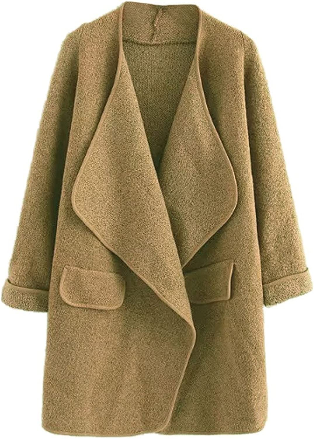 CHARLES RICHARDS CR Women's Lapel Open Front Pocket Detail Long Sleeve Knit Coat