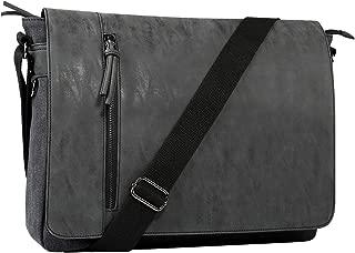Laptop Messenger Bag for Men and Women,Tocode Vintage Canvas Messenger Bag Waterproof PU Leather Large Crossbody Shoulder Bag Computer Laptop Bag Fits Up to 16.5 Inch Laptop -Black