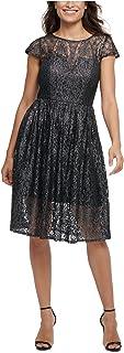 KENSIE Womens Silver Lace Floral Illusion Neckline Knee Length Fit + Flare Cocktail Dress AU Size:16