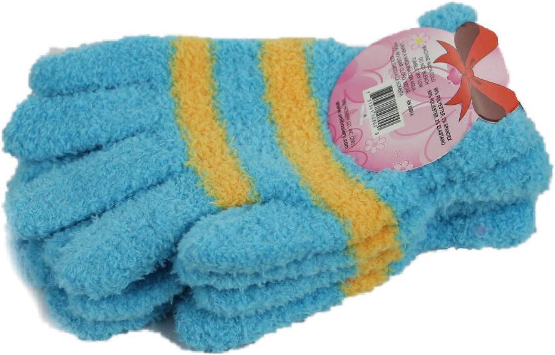 Women Magic Glove Fuzzy Warm Winter Knit Puffy Stripe Fashion Casual One Size