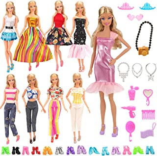 BARWA Lot 15 Items 5 Sets Fashion Dresses Casual Wear Clothes with 10 Pair Shoes, 13 Accessories for 11.5 Inch Girl Doll Birthday Xmas Gift - coolthings.us