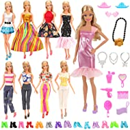 BARWA Lot 15 Items 5 Sets Fashion Dresses Casual Wear Clothes with 10 Pair Shoes, 13 Accessories...