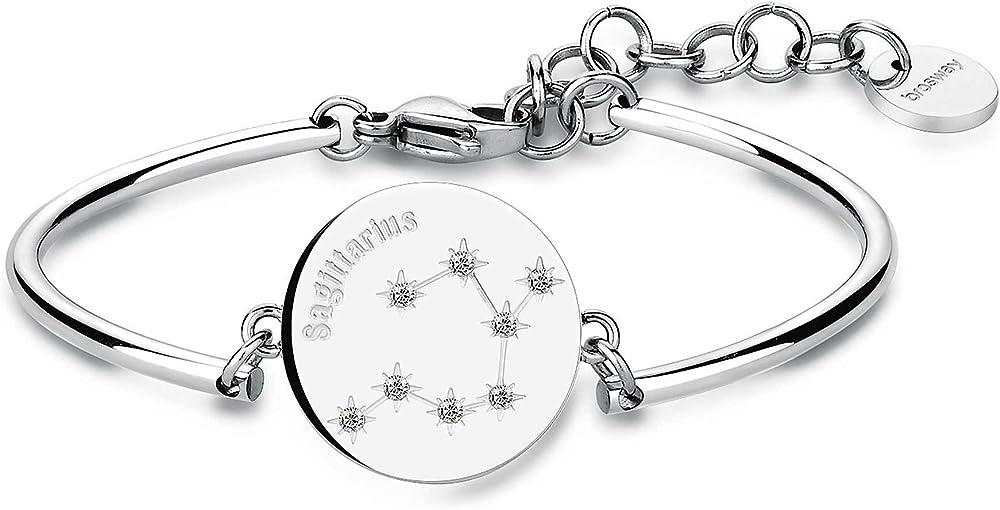 Brosway bracciale rigido donna in acciaio con centrale sagittario e cristalli swaronsky BHK19