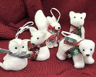 yacn 5 Pcs Xmas Tree Pendant Christmas Ornaments Cute Bear Squirrel Owl Deer Fox White Foam Woodland Animal Forest Friends Christmas Ornament Set Kids Gift Home