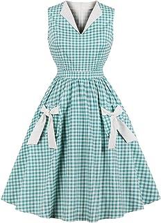 Wellwits Women's Lapel V Neck Plaid Pocket 1940s 1950s Vintage Swing Dress