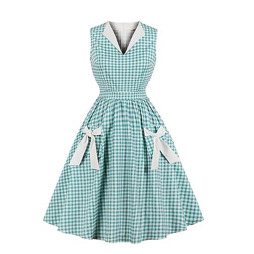 c45bd5ab5e0 Wellwits Women s Lapel V Neck Plaid Pocket 1940s 1950s Vintage Swing Dress
