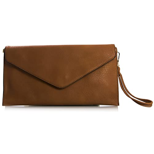7e3d1d29802b Craze London New Womens Faux Leather Envelope Clutch Bag with Long Shoulder  Strapr Envelope Clutch Shoulder