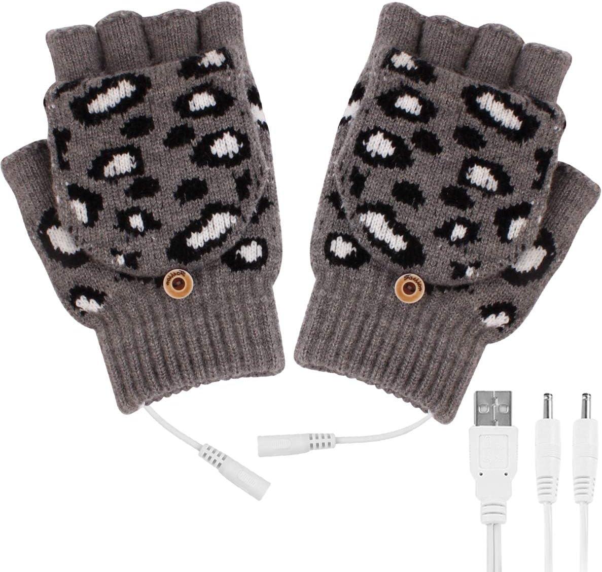 ROSEBEAR Gants Chauffants USB Femmes Gants de Temps Froid avec 3 Niveaux de Temp/érature 3 Minuterie Chauffe-Mains pour Randonn/ée /à V/élo en Plein Air L/éopard