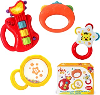 KiddoLab Baby Rocker Musical Kids Guitar Instruments Set with Electric Toy Guitar and Rattles. Baby Guitar Toys for Early ...