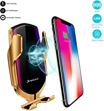 KMI CHOU R2 Wireless Car Charger,Automatic Clamping IR Intelligent Wireless Car Charger Mount - Car Charger Holder 10W Fast Charging for iPhone Xs Max/XR/X/8/8Plus Samsung S10/S9/S8/Note 8