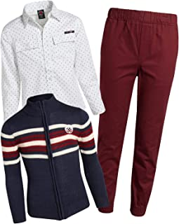 Enyce Boys' 3-Piece Pant Set with Sweater and Woven Shirt