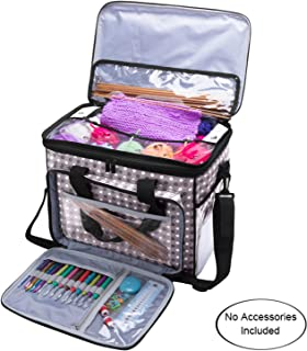 Teamoy Knitting Bag, Yarn Tote Organizer with Cover and Inner Divider (Sewn to Bottom)..