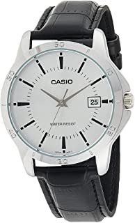 Casio Watch for Men MTP-V004L-7AUDF Analog Leather Band Black & Silver