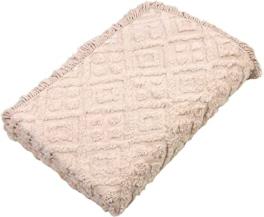 Diamond Tufted Chenille Bedspread and Pillow SHAM Set, All Cotton (Ivory, King)