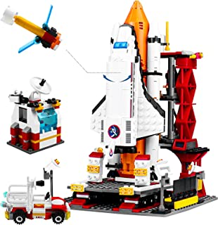 AvoKlan City Space Rocket and Launch Control Building Kit with Space Shuttle, Control Tower and Astronaut Minifigures, Ste...