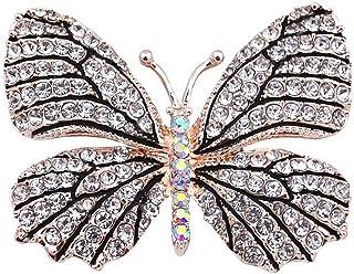 Belons Broche para pañuelos con diseño de mariposa, piedras de cristal incrustadas, ideal para bodas, banquetes o ramos de...