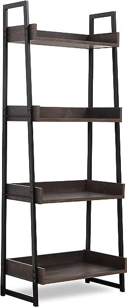 Sekey 家用梯子架子 4 层书架书柜收纳架置物架单元浴室客厅木质外观口音家具金属架烟熏橡木