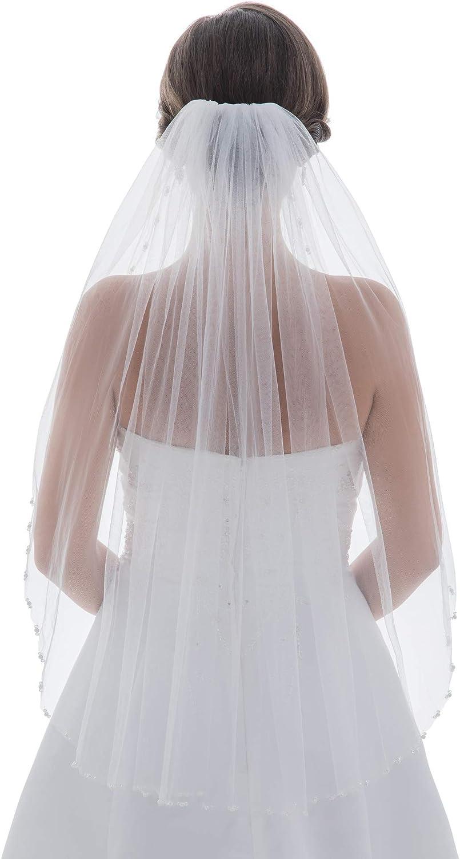 SAMKY 1T 1 Tier Pearls Crystals Beaded Bridal Wedding Veil