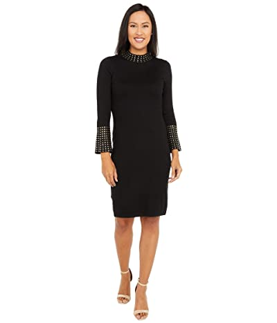 Calvin Klein Sweaterdress with Embellished Neck and Cuff (Black) Women