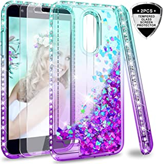 LG K30 (X410)/ Harmony 2 (Not Fit Harmony)/ Phoenix Plus Case w/Tempered Glass Screen Protector [2 Pack] for Girls Women, LeYi Glitter Bling Liquid Clear TPU Phone Case for LG K10 2018 Teal/Purple