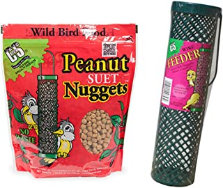 C&S Products Company Suet Nuggets Peanut Flavored Bundled with Wire Feeder Basket, Perfect for Birds Year Round!