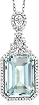 Gem Stone King Sky Blue Simulated Aquamarine 925 Sterling Silver Pendant Necklace 7.24 Ct Emerald Cut with 18 Inch Silver Chain
