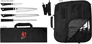 Shun VBS0499 Sora 5-Piece Student Set Including Stainless Chef's 3.5 Paring, 9-Inch Bread, Honing Steel and 8-Slot, Black Nylon Knife Roll for Carrying Convenience