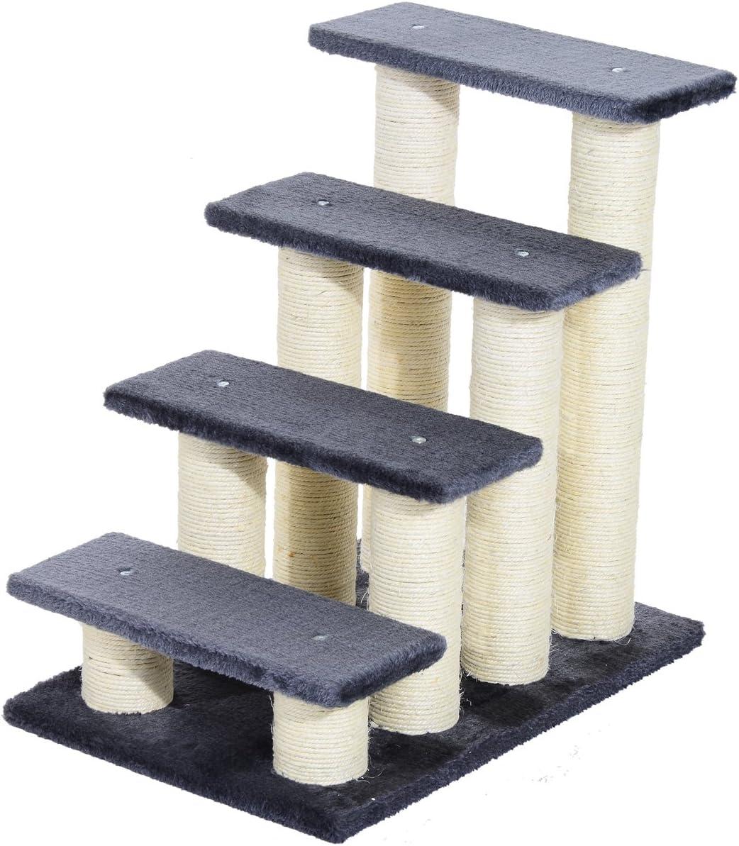 Pawhut Escalera para Mascotas Escalera para Gatos Perros Mayores Enfermos Pequeños Cubierta Suave de Peluche Rascador de Sisal Estable 4 Pasos 60x42x61 cm Gris