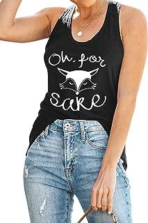 ZJP Women Oh for Fox Sake Tank Tops Letter Graphic Print Sleeveless Tanks Camis
