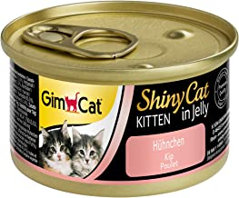 GimCat ShinyCat in Jelly Kitten – Comida para gatos: con trocitos extrapequeños en gelatina, indicada para gatitos jóvenes a partir de las 8 semanas – Sin azúcar añadido – Pollo – 24 latas (24 x 70 g)