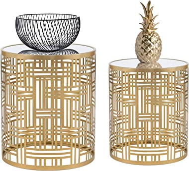 Decent Home End Tables Accent Coffee Table Indoor Outdoor Decorative Nesting Round Gold Nightstands,Set of 2 (Gold 2)