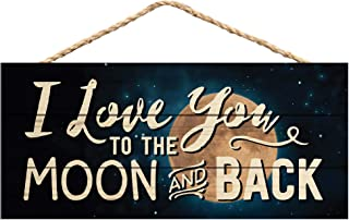P. Graham Dunn Love You to The Moon and Back Night Sky 5 x 10 Wood Plank Design Hanging Sign