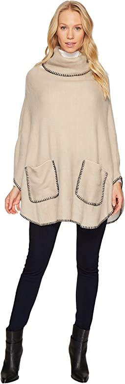 Steve Madden - Plush Turtleneck Poncho with Pocket