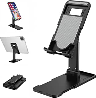 Cell Phone Stand, Foldable Portable Phone Holder, Height/Angle Adjustable Desktop Phone Dock, Aluminum Tablet Stand, Compa...