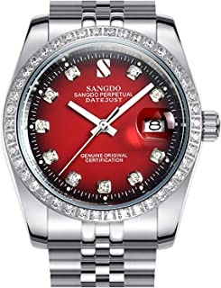 Men's Diamond Inlay Bezel Red Dial Stainless Steel Band Calendar Waterproof Automatic Mechanical Watch (Silver red)