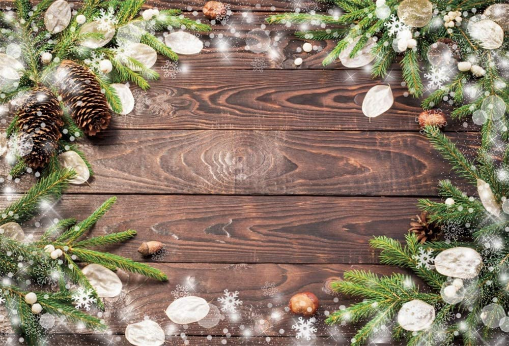 OFILA Rustic Wood Backdrop 12x10ft Christmas Party Photography Background Hardwood Texture Photos Xmas Decor Background Halo Photos Backdrop Christmas Festival Celebration Video Studio Props