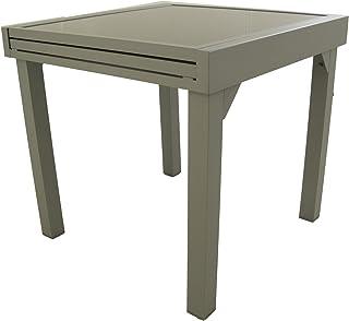 Edenjardi Mesa de Exterior Extensible de 80 cm a 160 cm, Aluminio Color Gris y Cristal Grueso Color taupé, Tamaño: 80x80/160x76 cm