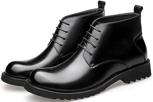 Otoño E Invierno Cuero botas Para hombres Moda Negocios botas Encajes Además De Zapaños De Algodón De Terciopelo Cálidos Y Altos