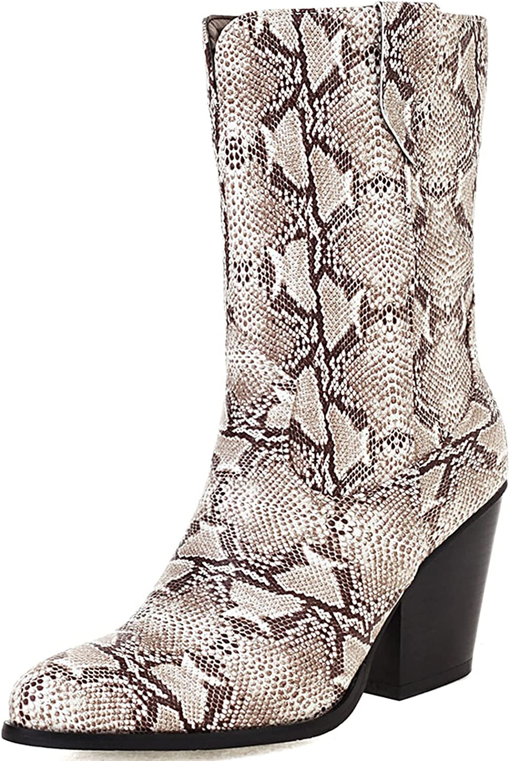 SaraIris Women's Cowboy Boots Pointed Toe Colorful Glitter Pull-on Mid Calf Boots Chunky Block Heel Cowgirl Boots Western Boots