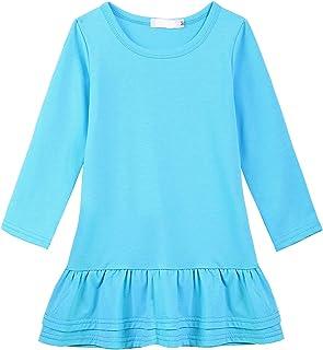 Balasha Toddler Girls Long Sleeve Solid Ruffle School Casual Tunic Dress