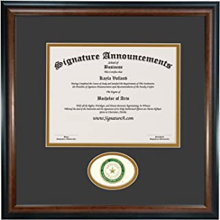 Signature Announcements Baylor University (BU) Undergraduate and Graduate Graduation Diploma Frame with Sculpted Foil Seal (Matte Mahogany, 16 x 16)