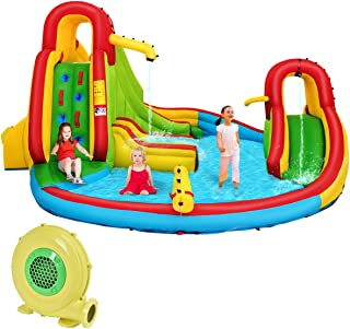 Costzon Inflatable Bounce House, 7 in 1 Mighty Pool Slide, Bouncer w/Climbing Wall, Basketball Rim, Splash Pool, Water Cannon, Including Oxford Carry Bag, Repairing Kit, Stakes (with 680W Air Blower)