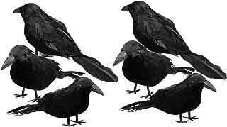 6 pc Halloween Black Feathered Crows, Halloween Fake Bird Decoration Halloween Ravens Décor Props