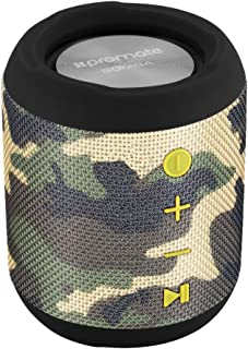 Promate Bluetooth Speaker, Portable True Wireless Stereo Speaker with 7W HD Sound, Built-In Mic, Micro SD Card Slot, In-Line AUX and IPX6 Water Resistant for Outdoor,Smartphone,iPod, Bomba Camouflage