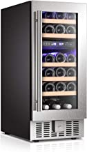 Bossin Wine Cooler Refrigerator Fridge 28 Bottles Dual Zone Wine Cellar Built-in Freestanding Wine Chiller with Stainless Steel & Digital Memory Temperature Control/Wood Shelves/Silver