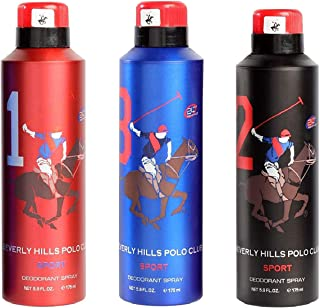 Beverly Hills Polo Club Men's, 1 and 8, 2 Fragrance Spray (175 ml) - Set of 3