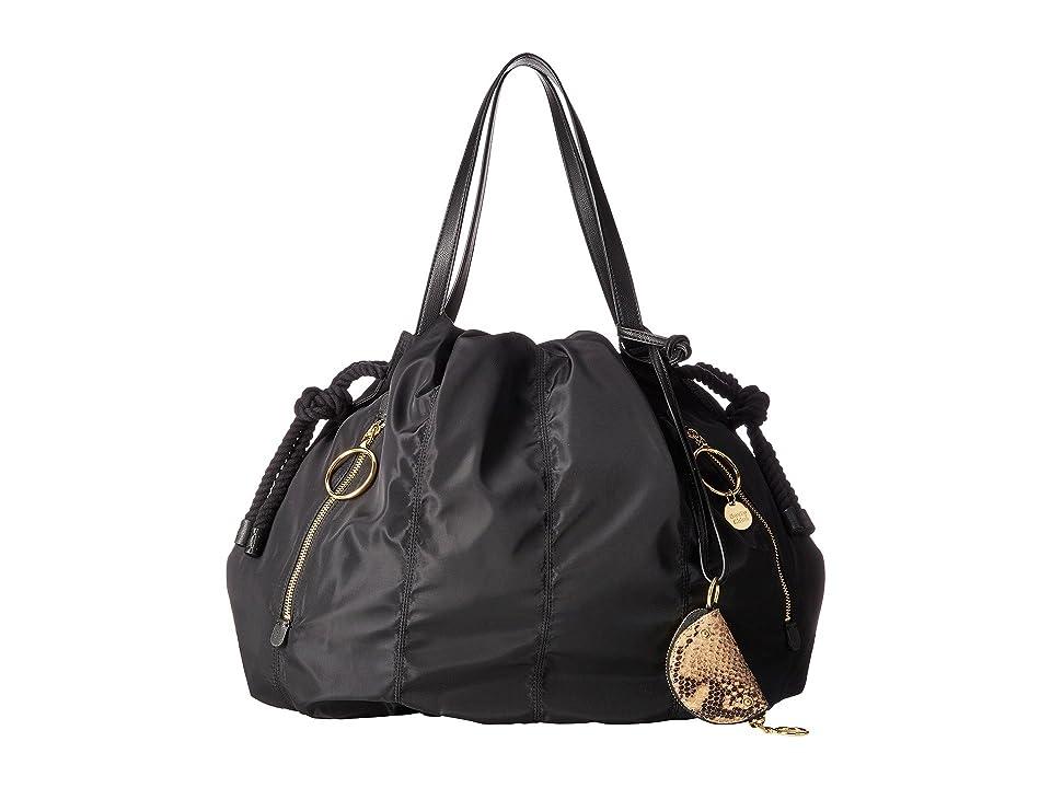 See by Chloe Flo Nylon Tote (Black) Tote Handbags