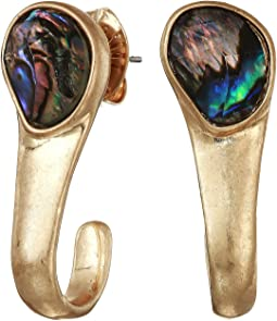 Abalone Stone Curved Stick Earrings