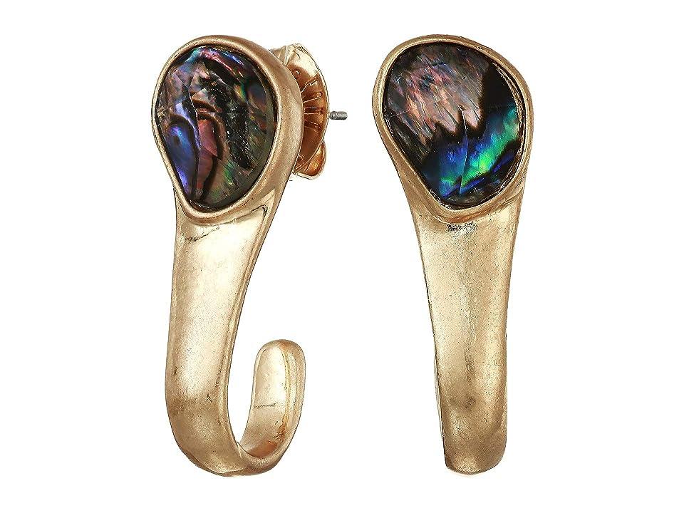 Robert Lee Morris - Robert Lee Morris Abalone Stone Curved Stick Earrings